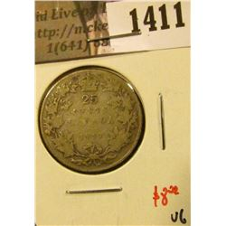 1411 . 1917 Canada 25 Cents, VG, value $8