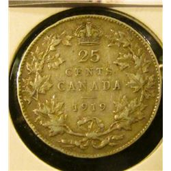 1413 . 1919 Canada 25 Cents, F+, value $10