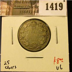 1419 . 1930 Canada 25 Cents, VG, value $8