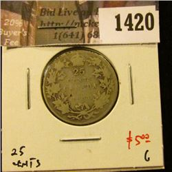1420 . 1931 Canada 25 Cents, G, value $5