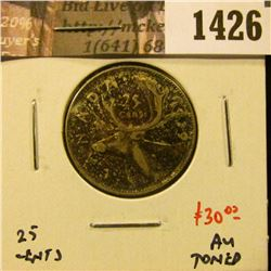 1426 . 1939 Canada 25 Cents, AU toned, value $30
