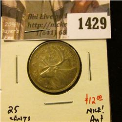 1429 . 1942 Canada 25 Cents, AU+, value $12