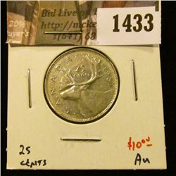 1433 . 1951 high relief Canada 25 Cents, AU, value $10