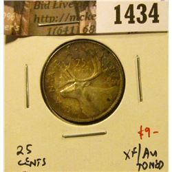 1434 . 1952 low relief Canada 25 Cents, XF/AU toned, value $9