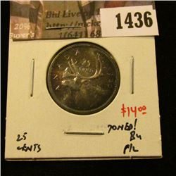 1436 . 1960 Canada 25 Cents, BU proof-like, toned, value $14