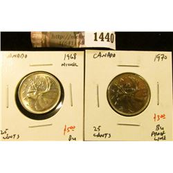 1440 . (2) Canada 25 Cents, 1968 Nickel, 1970, both BU, value for p