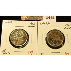 1441 . (2) Canada 25 Cents, 1968 Nickel, 1973 RCMP, both BU, value