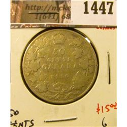 1447 . 1910 Canada 50 Cents, Edward leaves, G, value $15