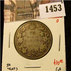 1453 . 1920 narrow 0 Canada 50 Cents, G+, value $10