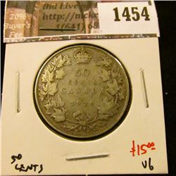1454 . 1929 Canada 50 Cents, VG, value $15