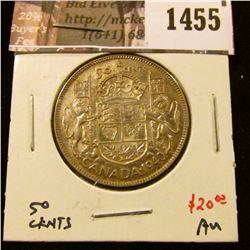 1455 . 1940 Canada 50 Cents, AU, value $20