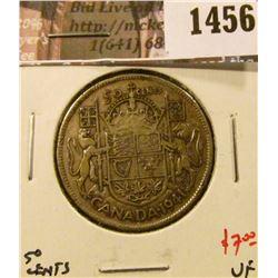 1456 . 1941 Canada 50 Cents, VF, value $7