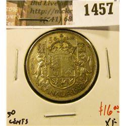 1457 . 1942 Canada 50 Cents, XF, value $16
