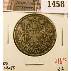 1458 . 1943 Canada 50 Cents, XF, value $16