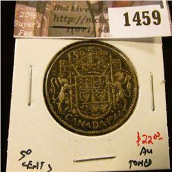 1459 . 1944 Canada 50 Cents, AU toned, value $22