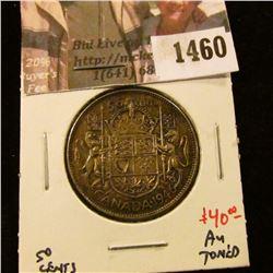 1460 . 1946 Canada 50 Cents, AU toned, value $40