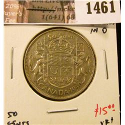 1461 . 1950 lines in 0 Canada 50 Cents, XF+ (AU), value $15+
