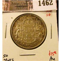 1462 . 1953 NSF SD Canada 50 Cents, AU, value $15