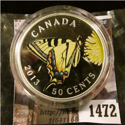1472 . 2013 Canada 50 Cents, Silver plated colorized Tiger Swallowt