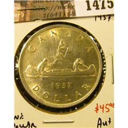 1475 . 1937 Canada Silver Dollar, AU+, value $45+