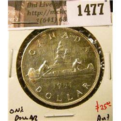 1477 . 1951 Canada Silver Dollar, AU+, value $25+
