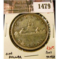 1479 . 1953 SF Canada Silver Dollar, AU+ toned, value $20+
