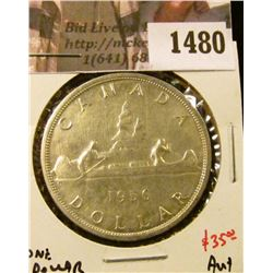 1480 . 1956 Canada Silver Dollar, AU+, value $35+