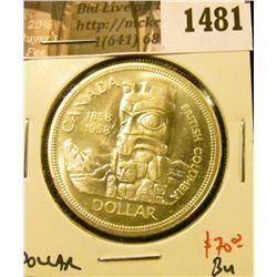 1481 . 1958 Canada Silver Dollar, BU, value $70+