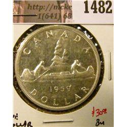 1482 . 1959 Canada Silver Dollar, BU, value $30+