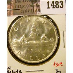 1483 . 1960 Canada Silver Dollar, BU, value $30+