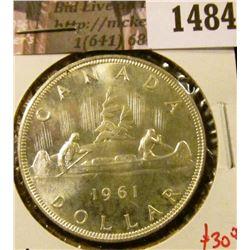 1484 . 1961 Canada Silver Dollar, BU, value $30+