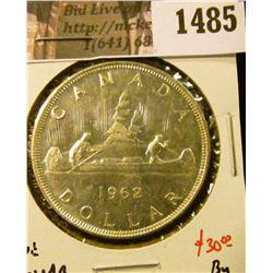 1485 . 1962 Canada Silver Dollar, BU, value $30+