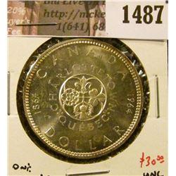 1487 . 1964 Canada Silver Dollar, BU, value $30+