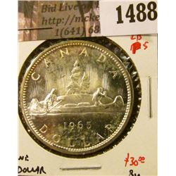 1488 . 1965 Canada Silver Dollar, Type 4 LB P5, BU, value $30+