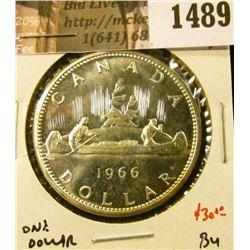 1489 . 1966 Canada Silver Dollar, LB, BU, value $30+