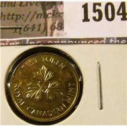 1504 . (1979) Undated Canada One Cent Test Token, copper-zinc, Engl