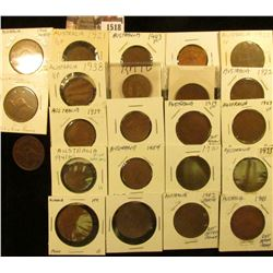 1518 . (9) Half Pennies and 14 Large Pennies from Australia, good s