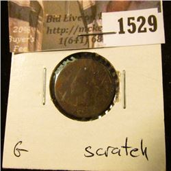 1529 . 1864 Bronze Indian Head Cent, Good, scratched.