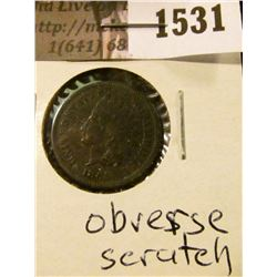 1531 . 1865 Indian Head Cent, Very Good, obverse scratch.