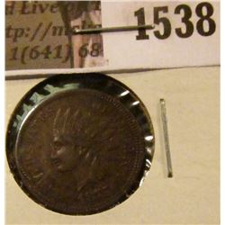 1538 . 1875 Indian Head Cent, VF, reverse corrosion.