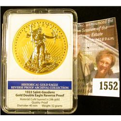 1552 . 1933 Saint-Gaudens Gold Double Eagle Reverse Proof, slabbed
