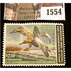 1554 . 1982 Federal Migratory Waterfowl $7.50 Stamp, artist signed.
