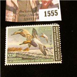 1555 . 1982 Federal Migratory Waterfowl $7.50 Stamp, artist signed.