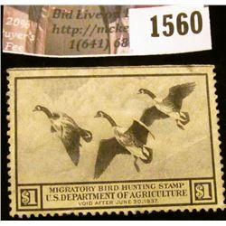1560 . 1936 Federal Migratory Waterfowl $1 Stamp, creased, not sign