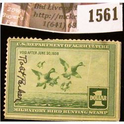 1561 . 1937 Federal Migratory Waterfowl $1 Stamp, signed. RW # 4.