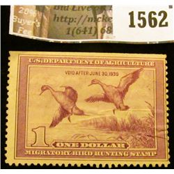 1562 . 1938 Federal Migratory Waterfowl $1 Stamp, signed. RW # 5.