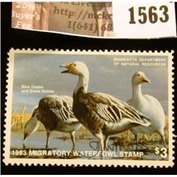 1563 . 1983 Minnesota Migratory Waterfowl $3 Stamp, artist signed.