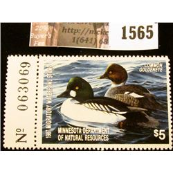 1565 . 1987 Minnesota Migratory Waterfowl $5 Stamp, full tab. Depic