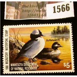 1566 . 1988 Minnesota Migratory Waterfowl $5 Stamp, full tab. Depic
