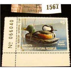 1567 . 1990 Minnesota Migratory Waterfowl $5 Stamp, full tab. Depic